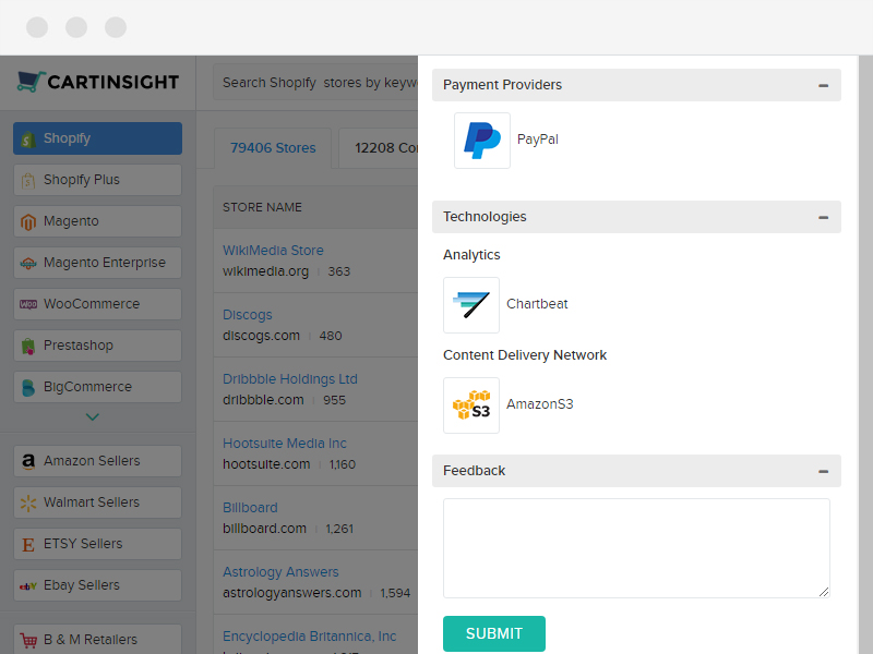 shipping providers, payment vendors, analytics tools